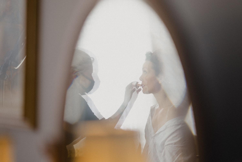 bride makeup reflection