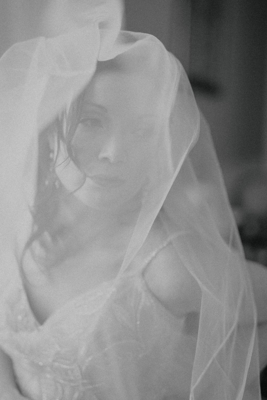 b/w bride portrait